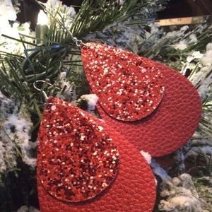 Christmas holiday red earrings sparkle